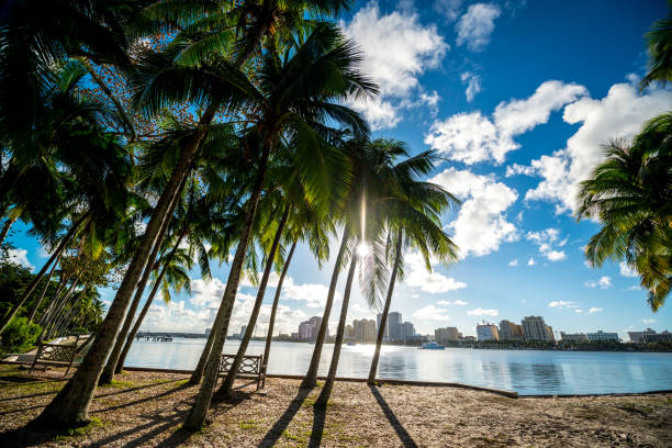 Waterfront park in Palm Beach, Florida, USA stock photo