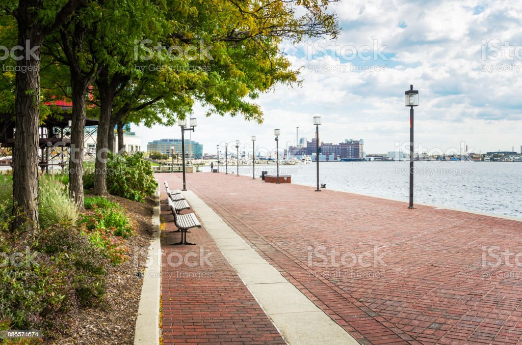 Waterfront Path on a Cloudy Autumn Day stock photo