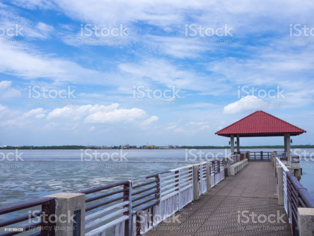 Waterfront pavilion with cloud in holiday times,Blue sky in the morning times stock photo