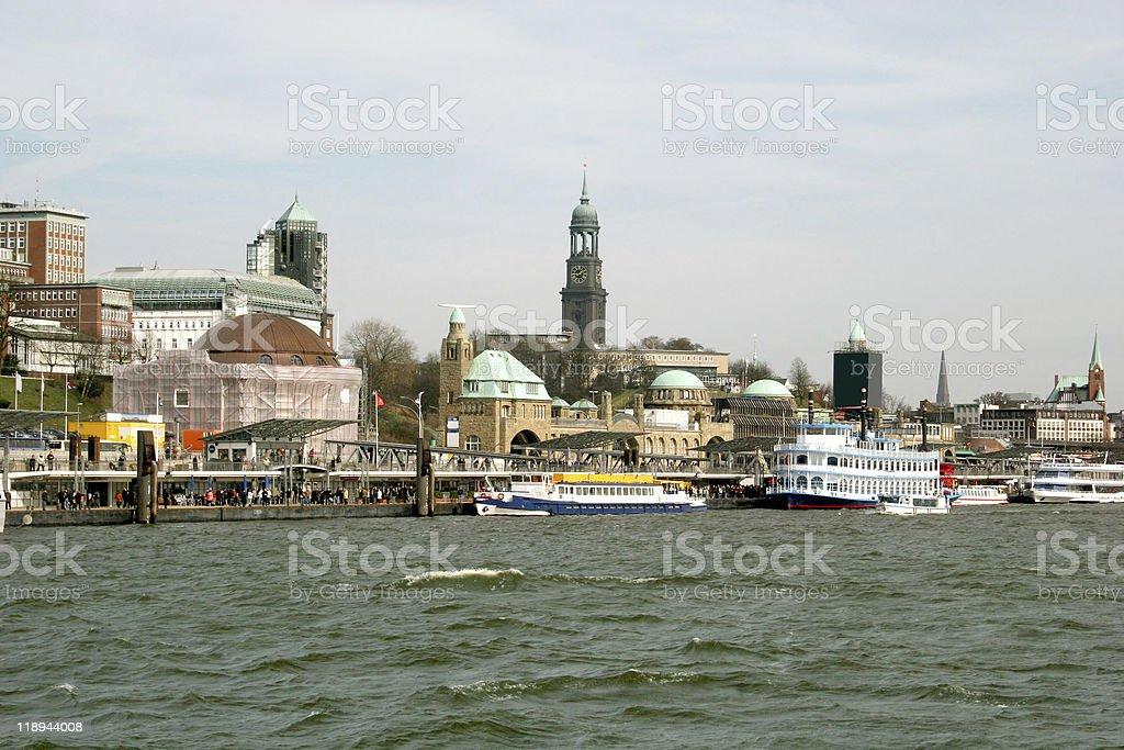 Waterfront photo of Hamburg Landungsbrccken stock photo