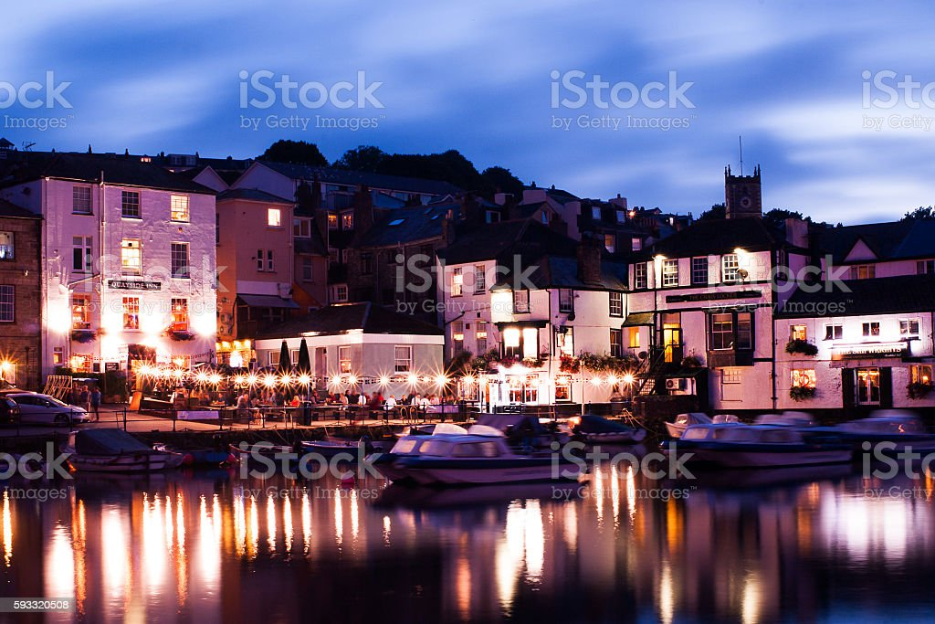 Waterfront pubs in Falmouth Cornwall stock photo