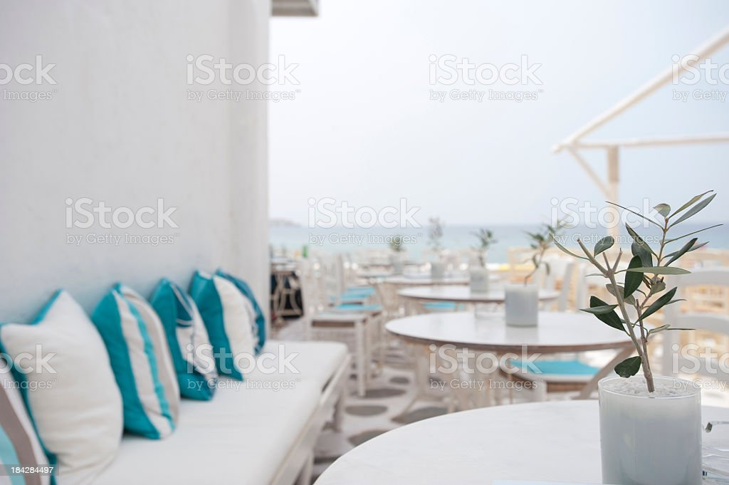 Waterfront Restaurant Tables royalty-free stock photo
