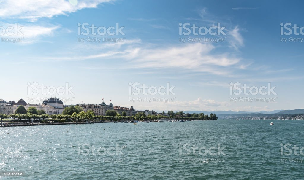 Waterfront skyline and Lake Zurich stock photo