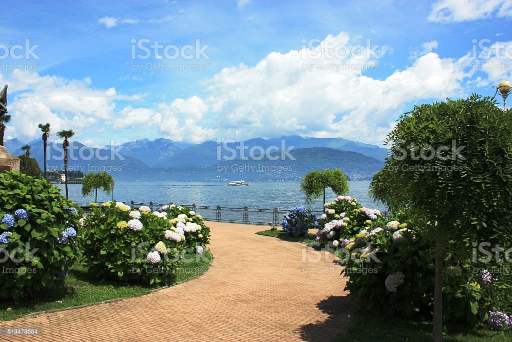 Waterfront Stresa in summer at Lake Maggiore, Piedmont Italy stock photo