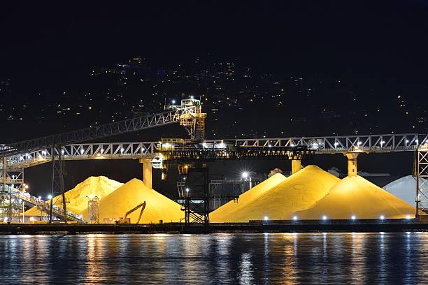 Waterfront Sulphur Piles, Port of Vancouver stock photo