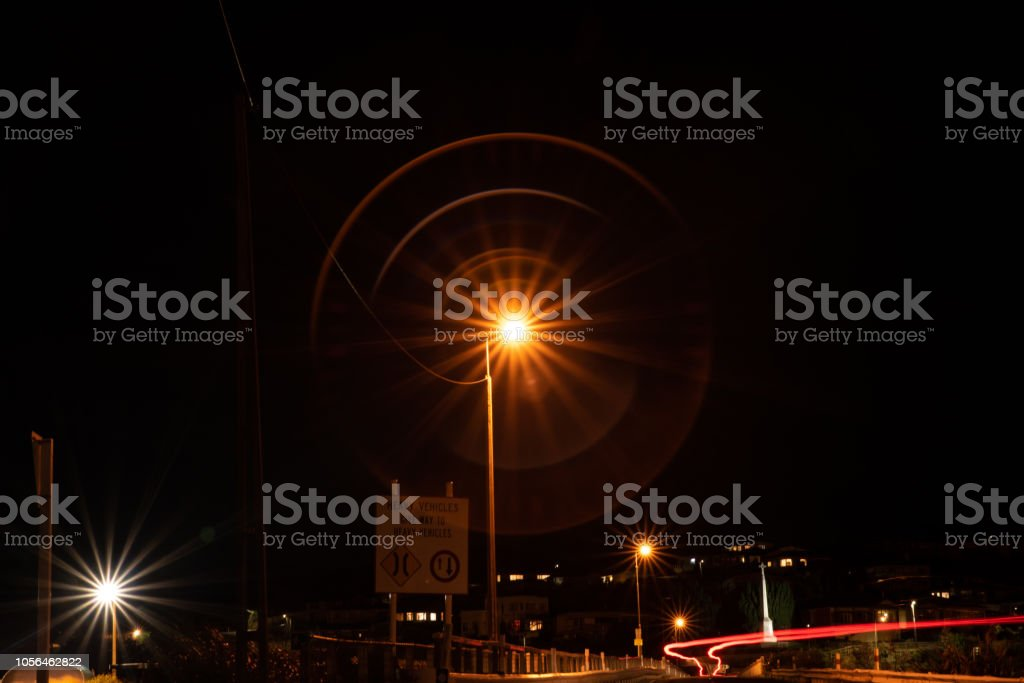 Waterfront town at night stock photo