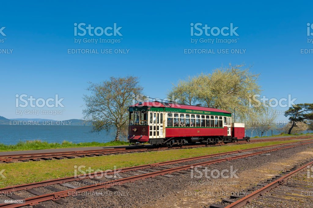 Waterfront Trolley in Astoria Oregon stock photo