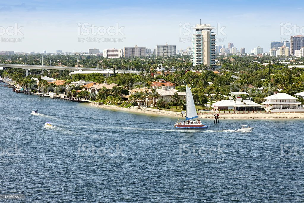 Waterfront view of Fort Lauderdale Florida on a sunny day stock photo