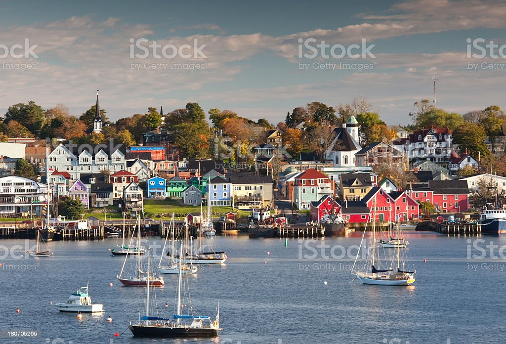 Waterfront view of Lunenburg Nova Scotia in the fall. stock photo