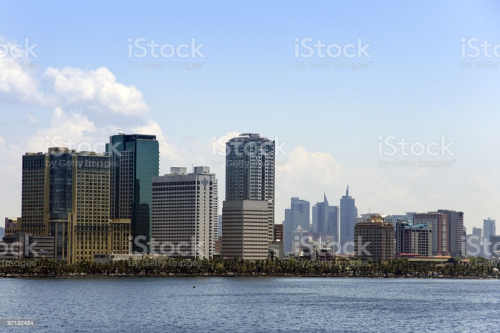 Waterfront view of the bay walk in Manila royalty-free stock photo