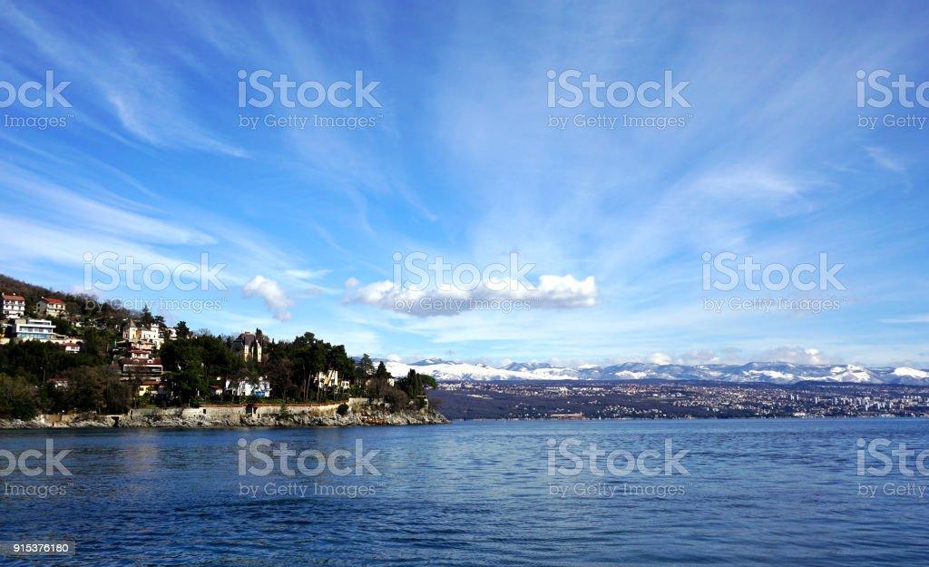 Waterfront view on Moscenicka Draga stock photo