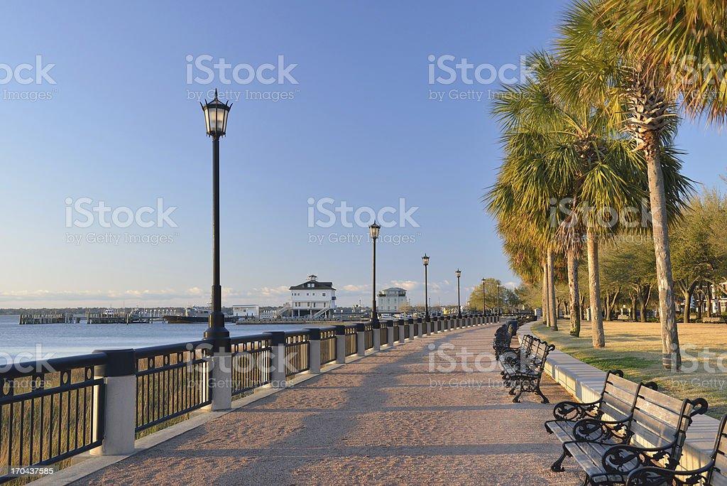 Waterfront Walk in Charleston stock photo