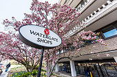 Washington DC, USA - April 5, 2018: Watergate Shops hotel sign building in capital city, residential building closeup with pink magnolia blossom flowers in spring