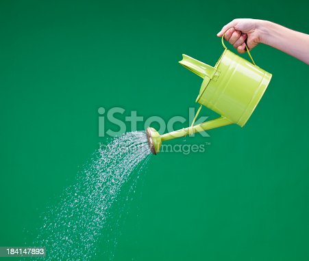 Watering can on green background