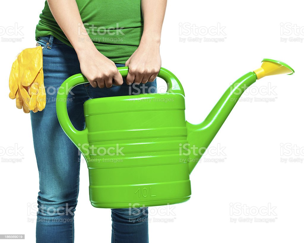 Watering can A watering can held by gardener. Isolated on white. Adult Stock Photo