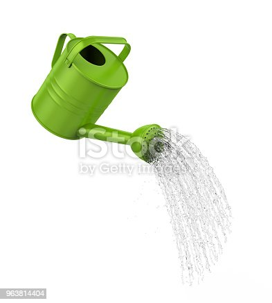 Watering Can Pouring Water isolated on white background. 3D render