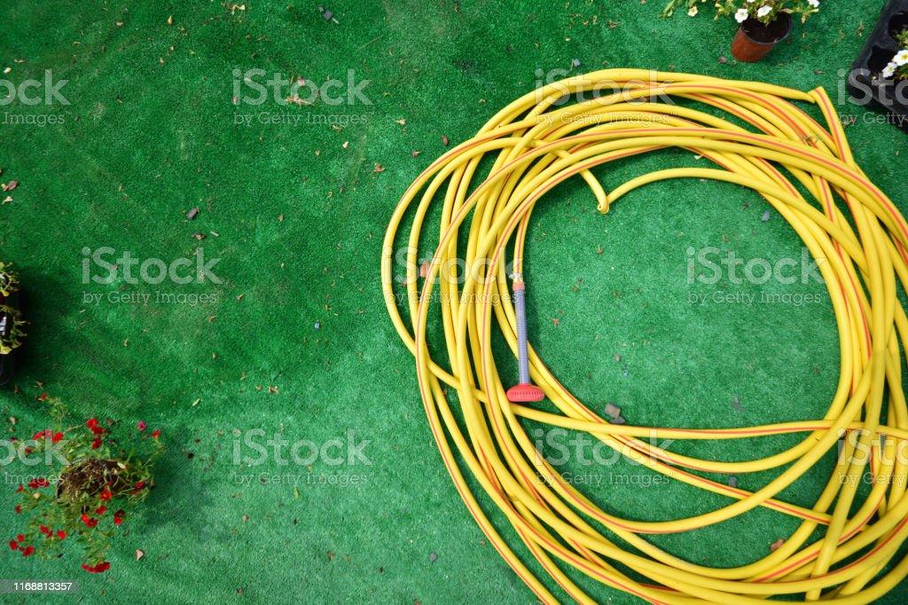 Watering hose on a green artificial grass. Autumn garden work. Copy...