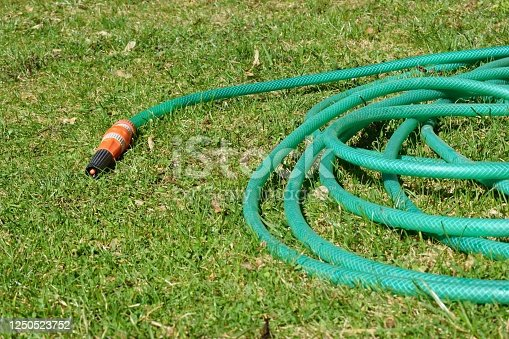 Watering hose on the lawn