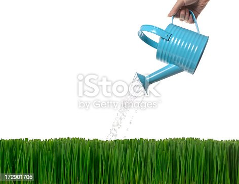 Woman watering grass with blue metal watering can