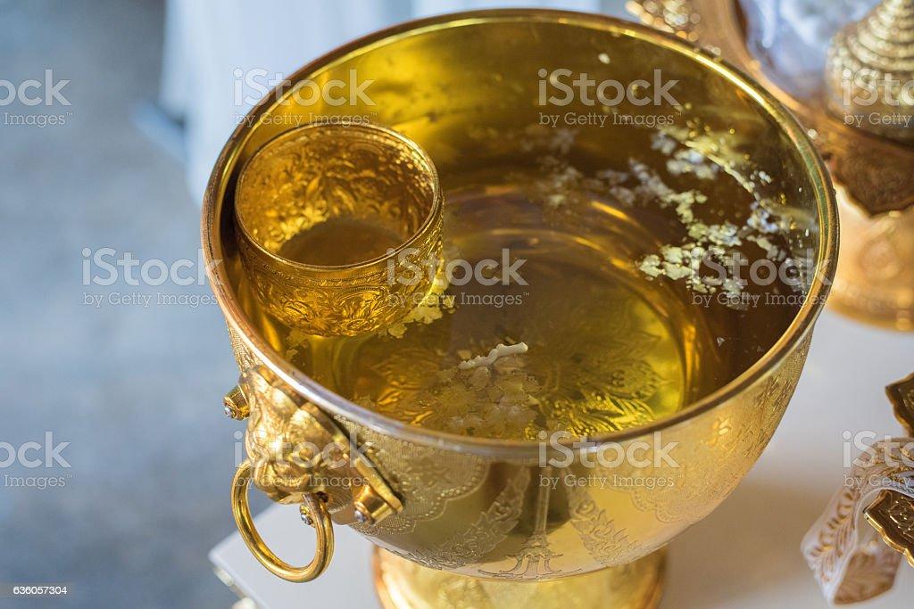 watering relaunch in Thai wedding ceremony. stock photo