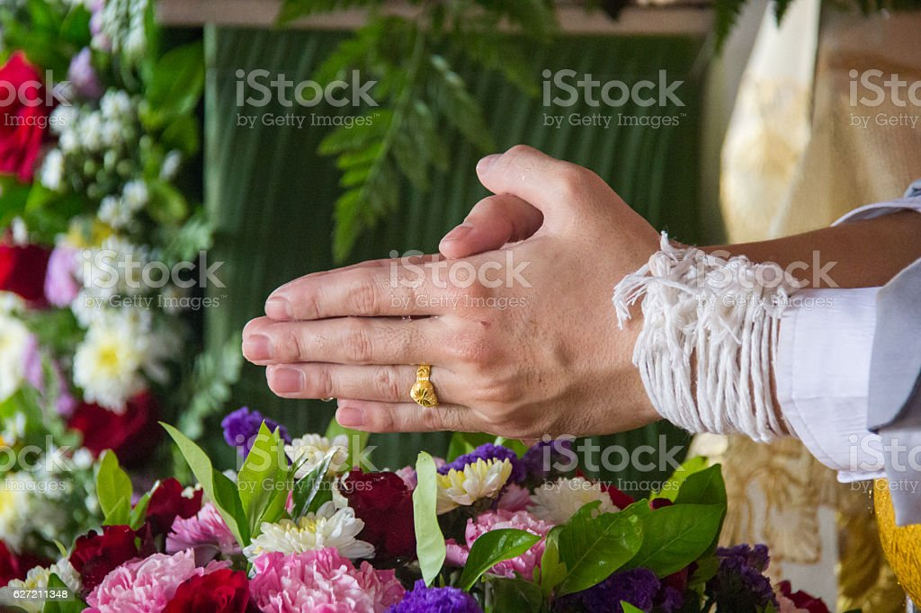 watering relaunch on man hand stock photo