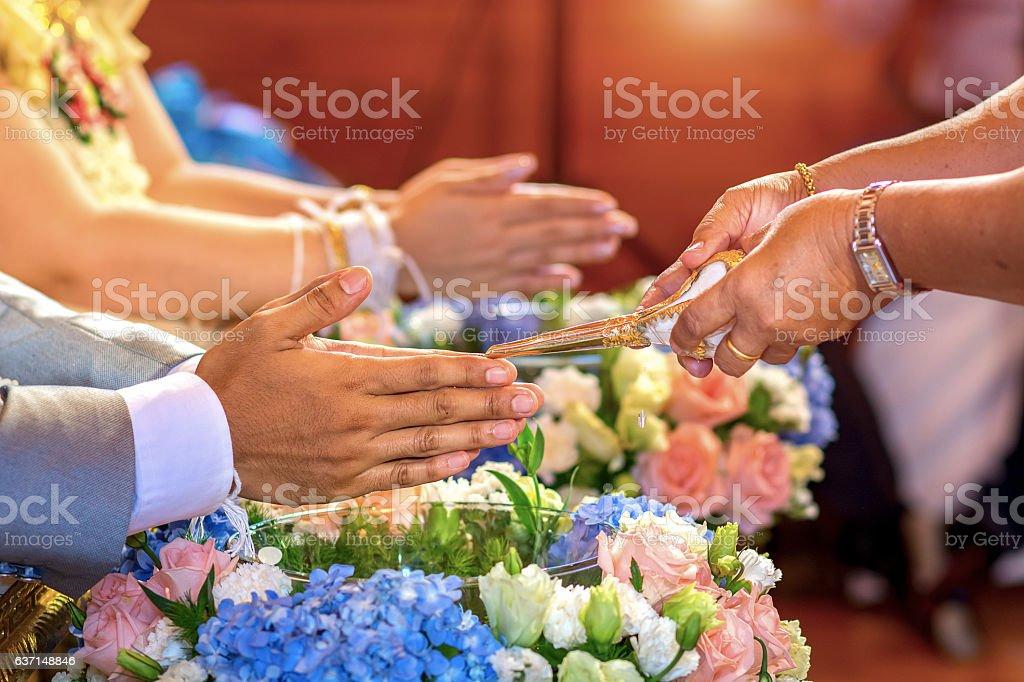 watering relaunch Wedding Ceremony stock photo