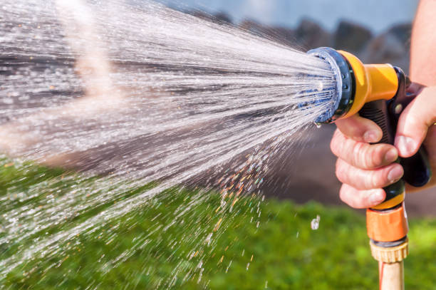 watering the grass with hose stock photo