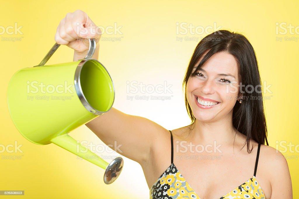 Watering woman stock photo