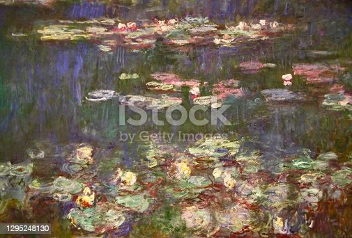 Closeup photo of a section of the Impressionist painter Claude Monet's Waterlily paintings in the Musee de l'Orangerie in Paris
