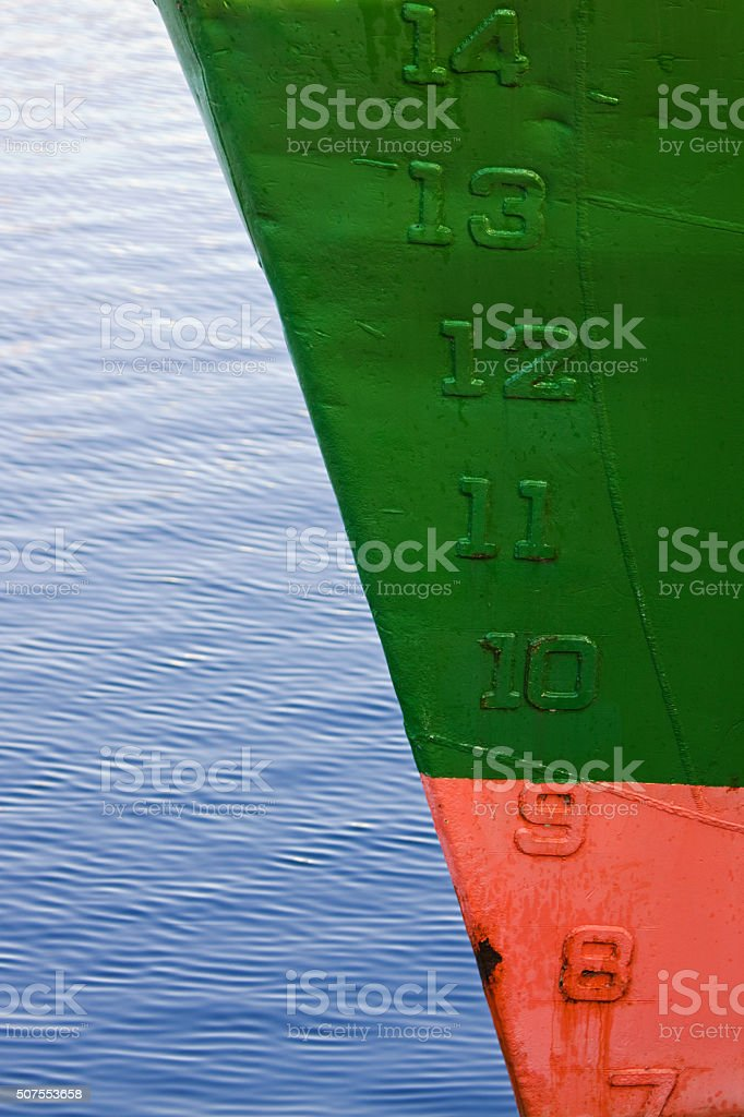 Waterline numbers on a ship's hull indicating depth stock photo