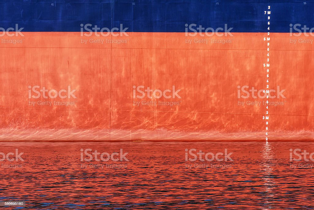 waterline scale numbers on ship stock photo