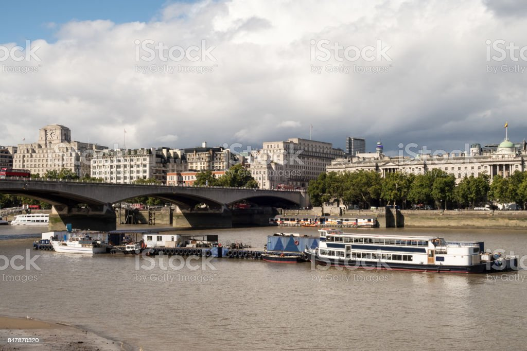 Waterloo Bridge in London over the River Thames stock photo