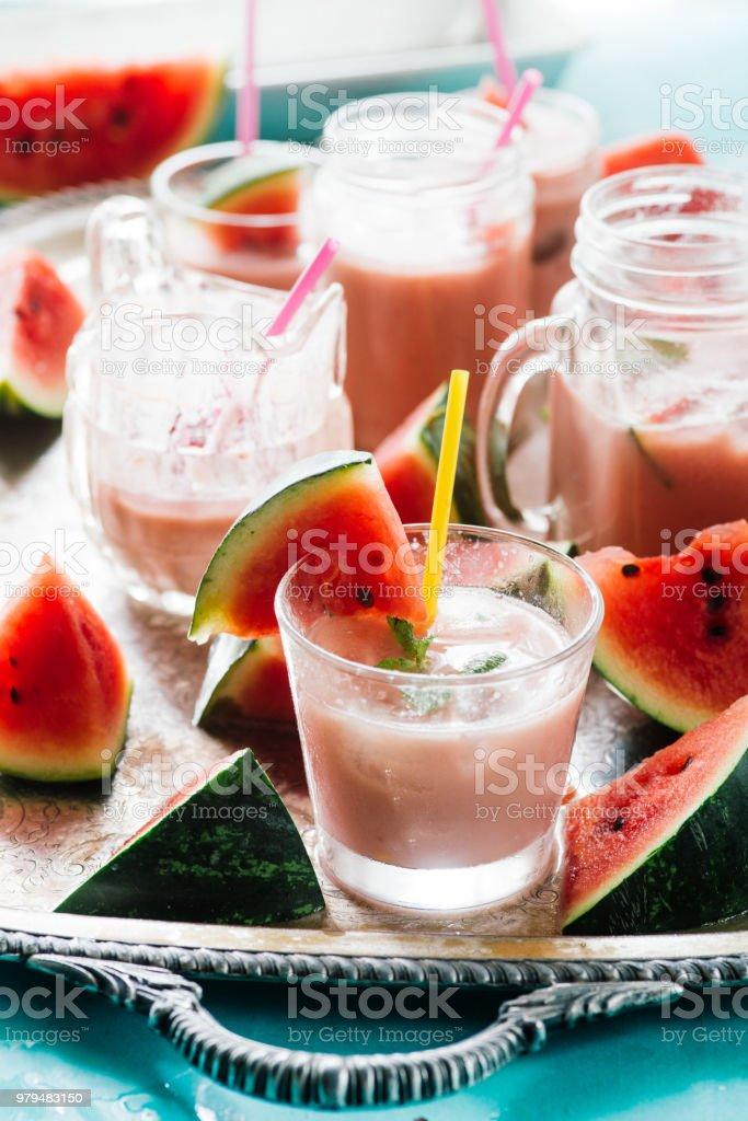 Watermelon an strawberry agua fresca stock photo