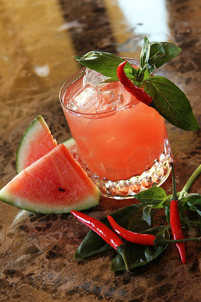 watermelon and chili drink stock photo