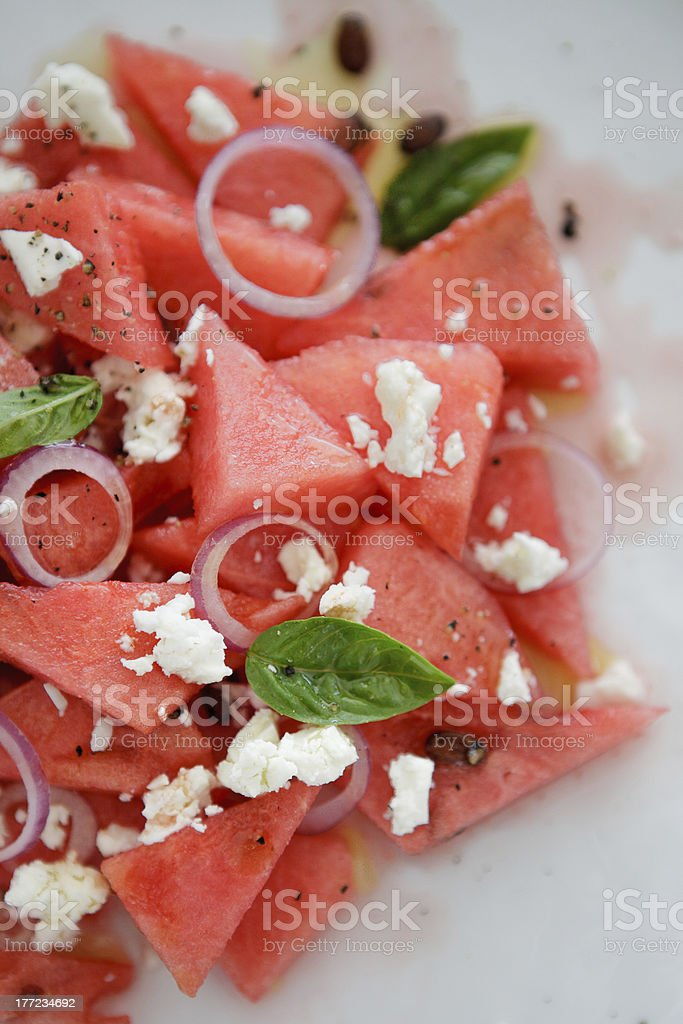 Watermelon and feta salad stock photo