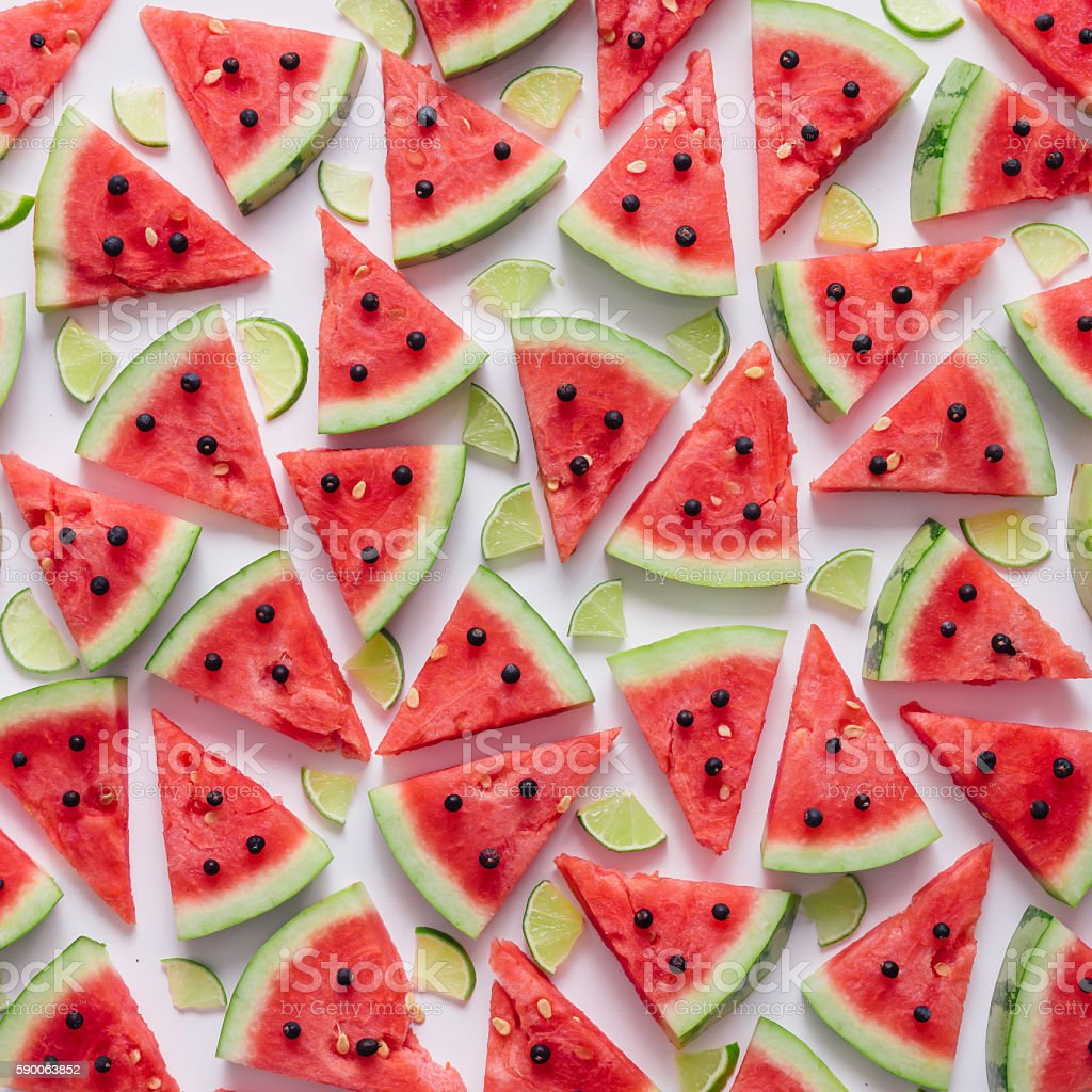 Watermelon and lime slices pattern. stock photo