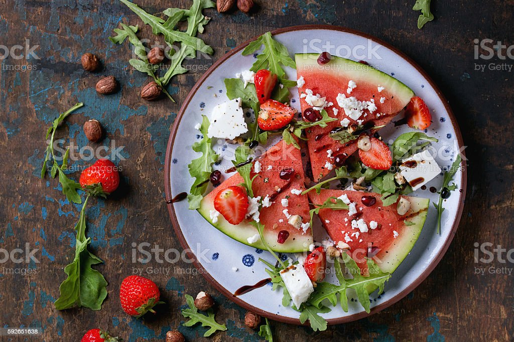 Watermelon and strawberry salad stock photo