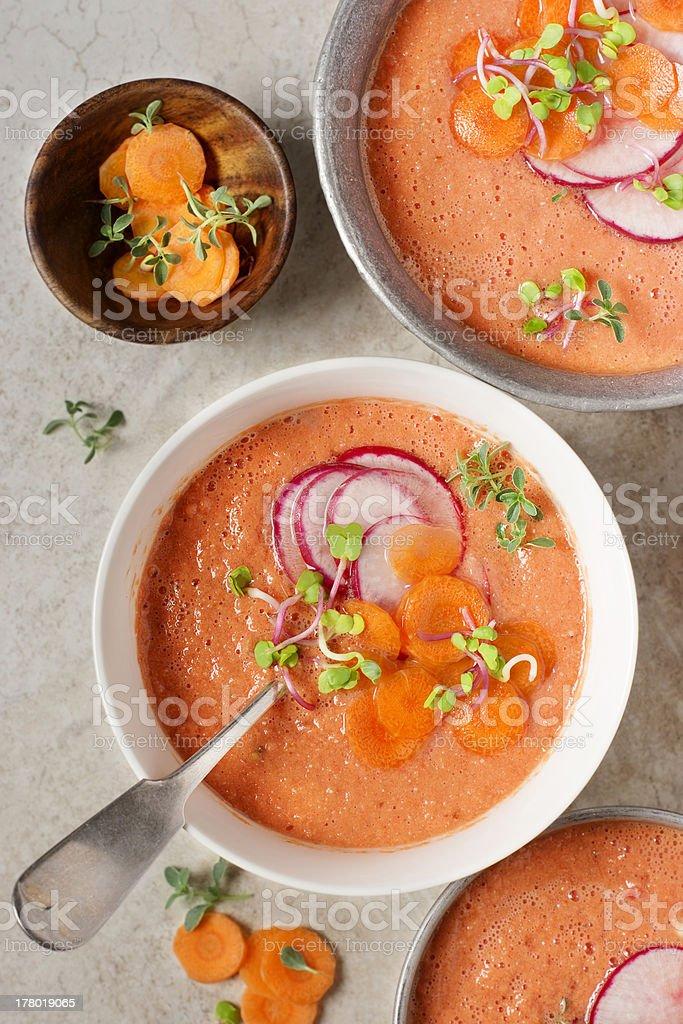 Watermelon and Tomato Gazpacho stock photo