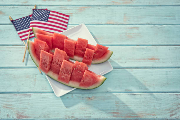 Watermelon boat for fourth of July stock photo