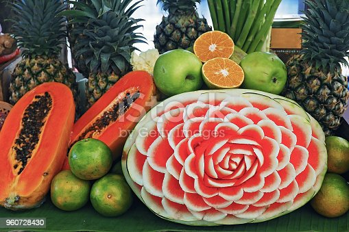 istock watermelon carving and local fruits displaying in thailand 960728430