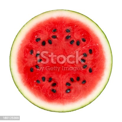 Cross Section of a watermelon on white background. Clipping path includedSome fruits from