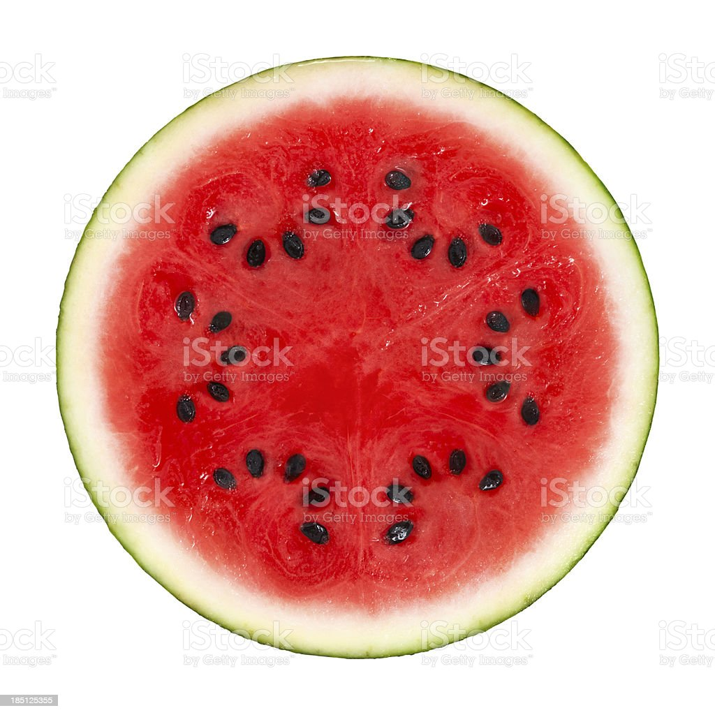 Watermelon Cross Section On White stock photo