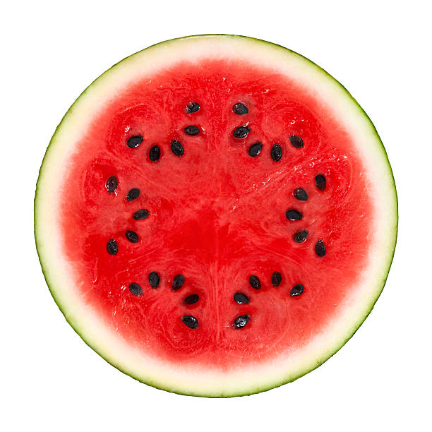 watermelon cross section on white - karpuz stok fotoğraflar ve resimler
