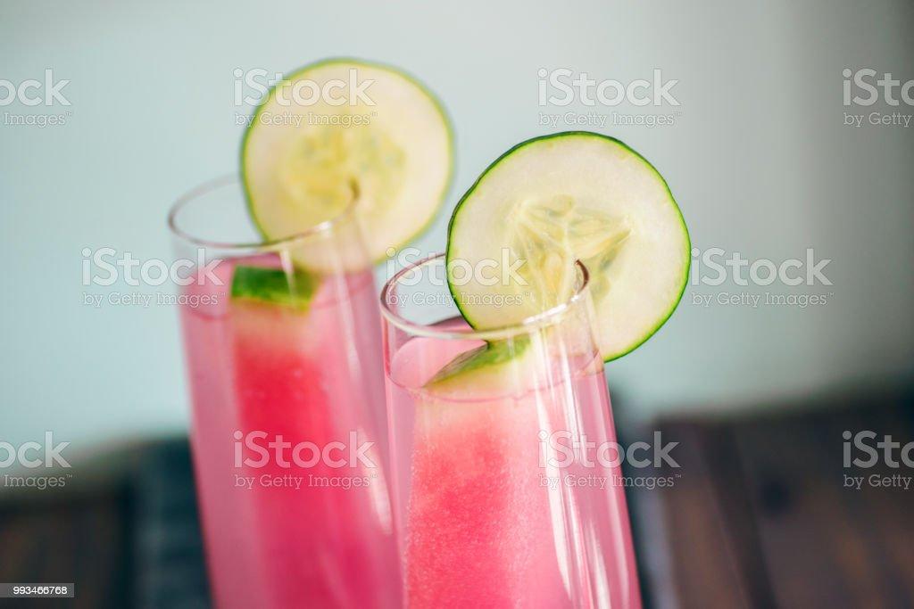 Watermelon cucumber cocktails stock photo