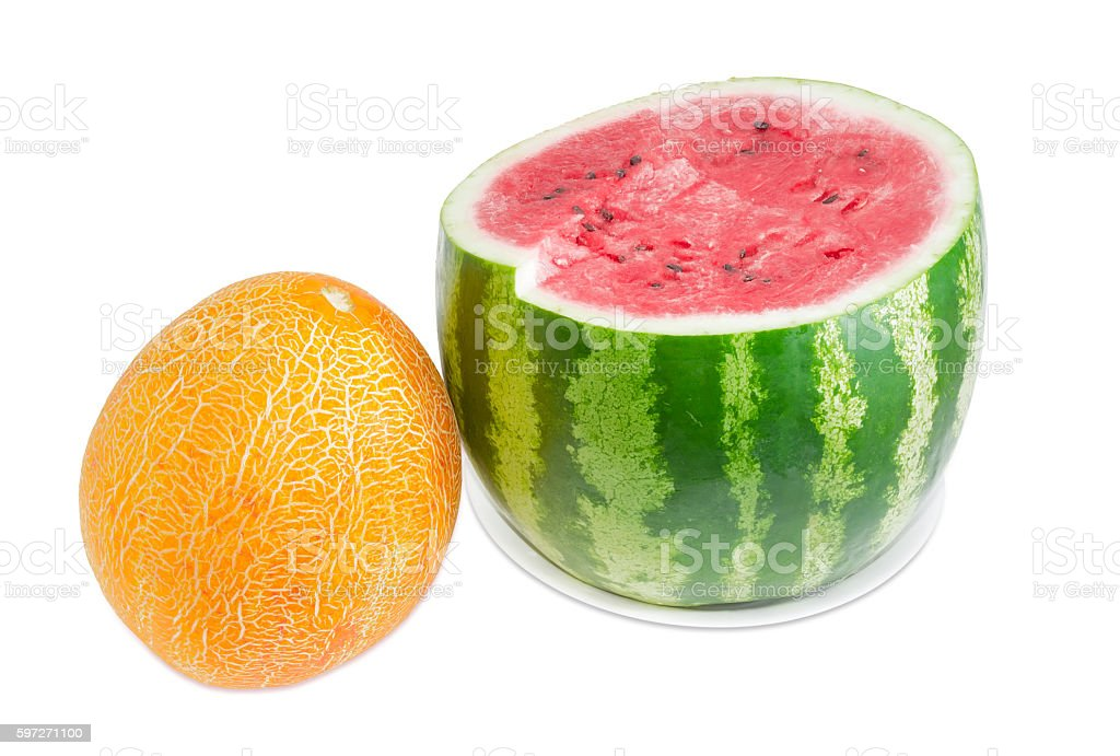 Watermelon cut off across and whole melon on light background Lizenzfreies stock-foto