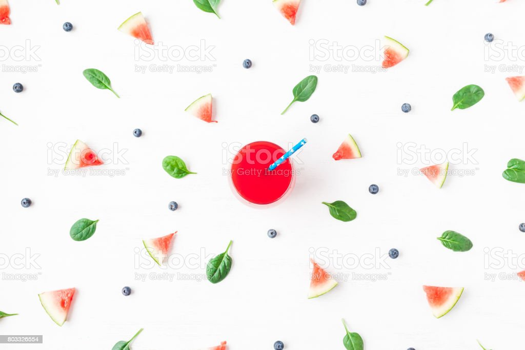 Watermelon juice, blueberry, spinach leaves. Flat lay, top view stock photo