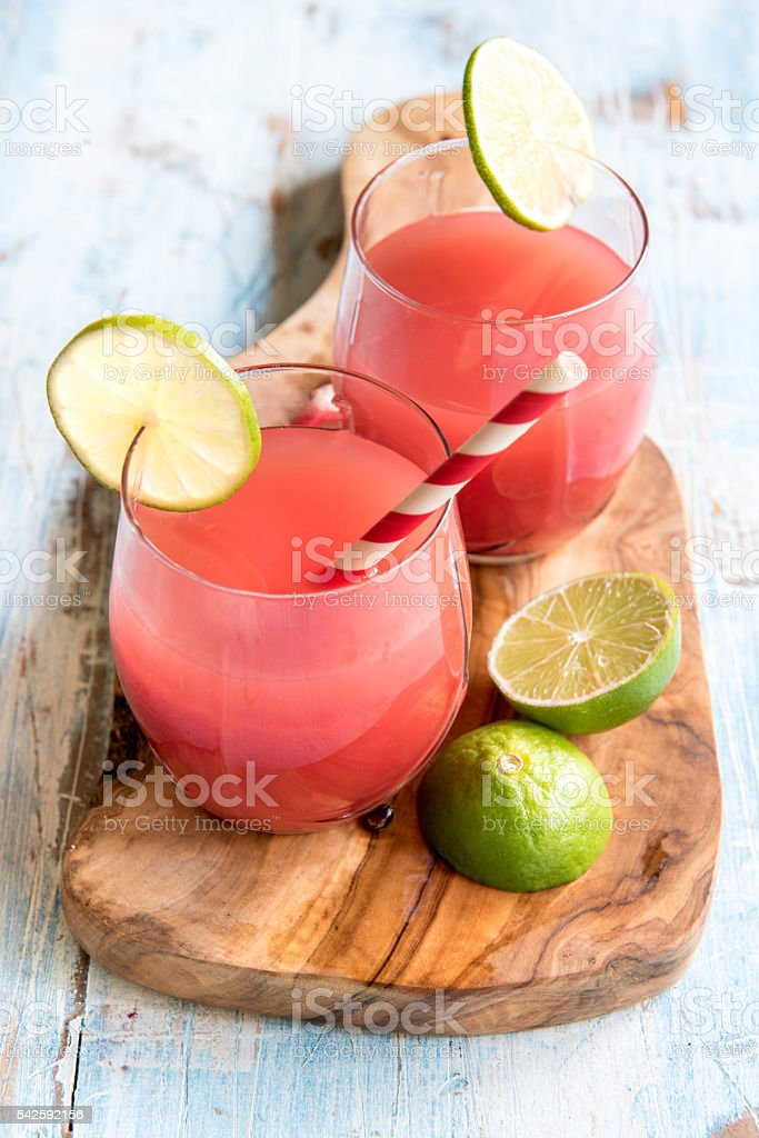 Watermelon juice in the glasses stock photo