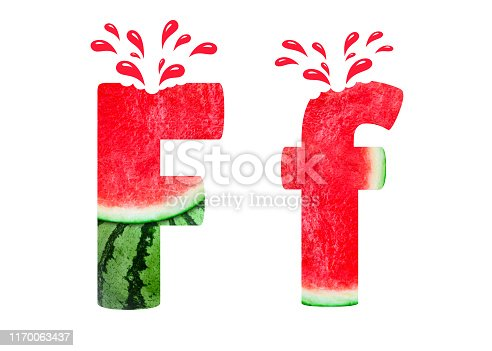 Alphabet F created from Watermelon images Isolated on White background.