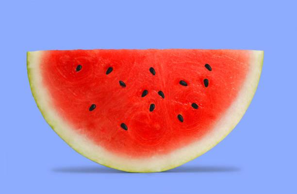 melon d'eau sur fond bleu - demi cercle photos et images de collection