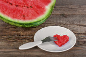 Watermelon on wooden surfase